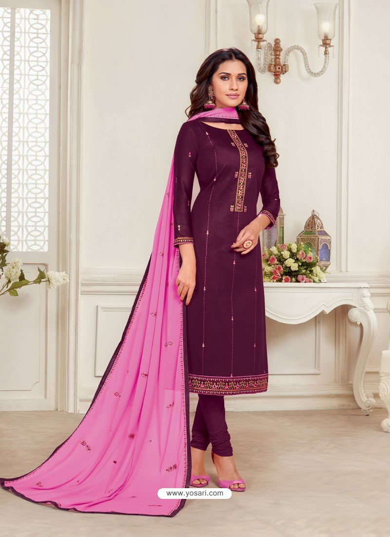 Purple Designer Jam Silk Cotton Churidar Salwar Suit
