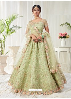 Green Scintillating Designer Heavy Wedding Wear Lehenga