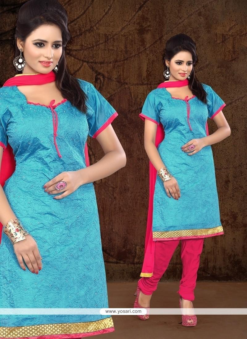Dazzling Lace Work Chanderi Cotton Churidar Designer Suit