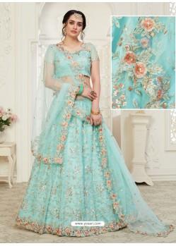 Sky Blue Scintillating Designer Heavy Wedding Wear Lehenga