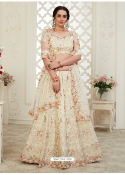 Off White Scintillating Designer Heavy Wedding Wear Lehenga