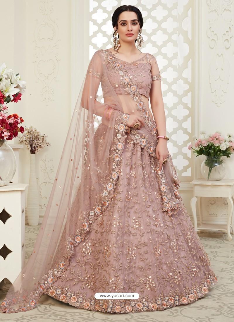 Dusty Pink Scintillating Designer Heavy Wedding Wear Lehenga