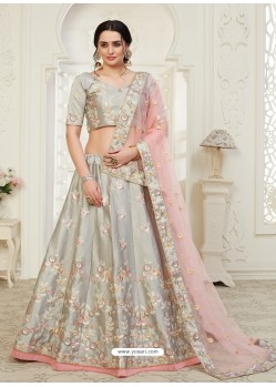 Light Grey Scintillating Designer Heavy Wedding Wear Lehenga