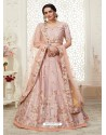 Baby Pink Scintillating Designer Heavy Wedding Wear Lehenga