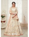 Off White Scintillating Designer Heavy Wedding Wear Lehenga