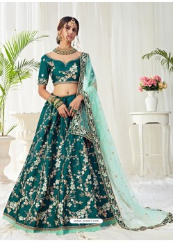 Teal Scintillating Designer Heavy Wedding Wear Lehenga