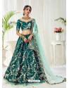 Teal Scintillating Designer Heavy Wedding Wear Lehenga