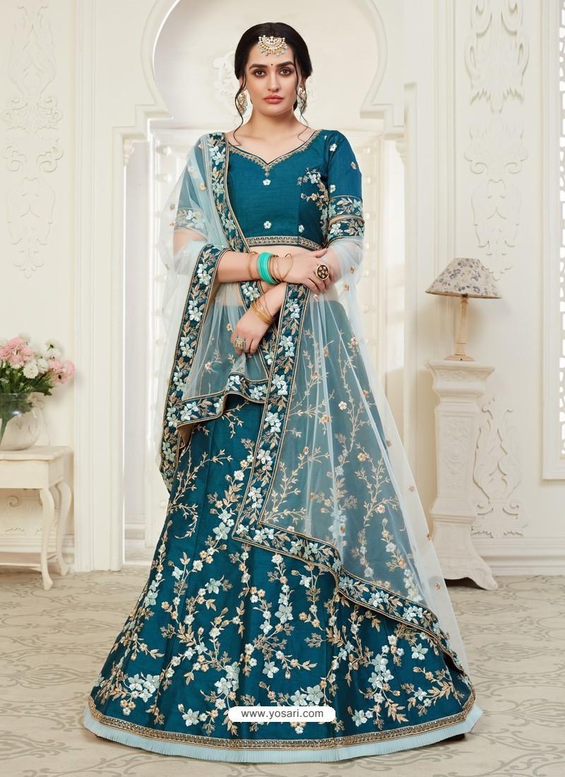 Teal Blue Scintillating Designer Heavy Wedding Wear Lehenga