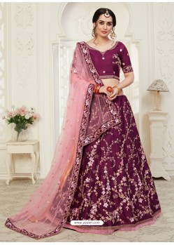 Deep Wine Scintillating Designer Heavy Wedding Wear Lehenga
