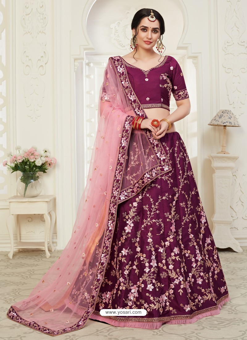 Deep Wine Scintillating Designer Heavy Wedding Wear Lehenga