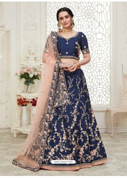 Dark Blue Scintillating Designer Heavy Wedding Wear Lehenga