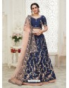 Dark Blue Scintillating Designer Heavy Wedding Wear Lehenga