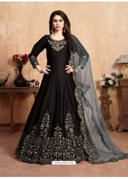 Black Stunning Heavy Designer Art Silk Party Wear Anarkali Suit