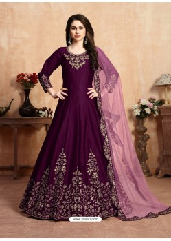 Purple Stunning Heavy Designer Art Silk Party Wear Anarkali Suit