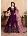 Purple Stunning Heavy Designer Art Silk Party Wear Anarkali Suit