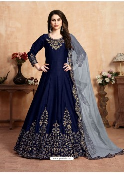 Dark Blue Stunning Heavy Designer Art Silk Party Wear Anarkali Suit
