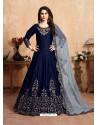 Dark Blue Stunning Heavy Designer Art Silk Party Wear Anarkali Suit