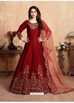Maroon Stunning Heavy Designer Art Silk Party Wear Anarkali Suit
