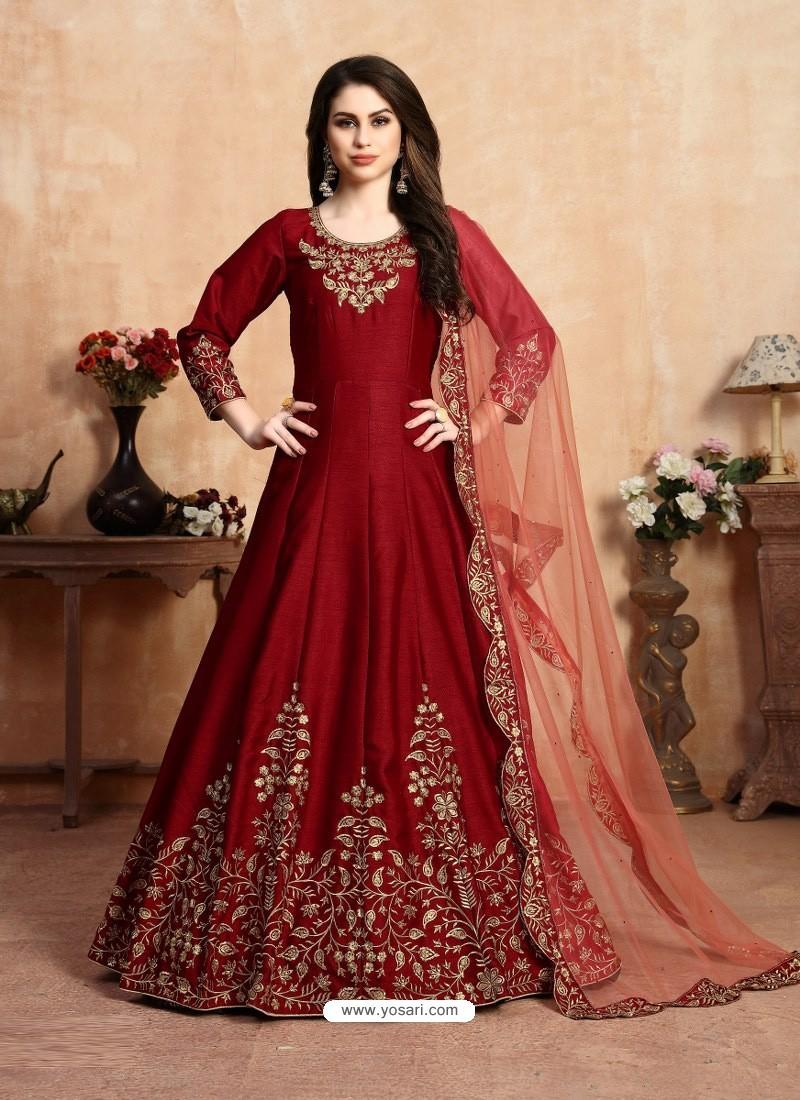 Maroon Stunning Heavy Designer Art Silk Party Wear Anarkali Suit