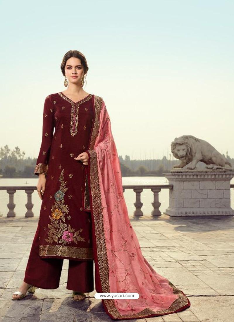 Maroon Designer Party Wear Viscos Dola Palazzo Salwar Suit