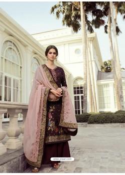 Deep Scarlet Designer Party Wear Viscos Dola Palazzo Salwar Suit