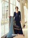 Navy Blue Designer Party Wear Viscos Dola Palazzo Salwar Suit