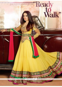 Celina Jaitly Yellow Lace Anarkali Salwar Suit