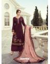 Deep Wine Designer Party Wear Viscos Dola Palazzo Salwar Suit