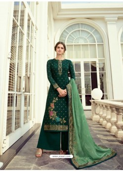 Dark Green Designer Party Wear Viscos Dola Palazzo Salwar Suit
