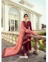 Wine Designer Party Wear Viscos Dola Palazzo Salwar Suit