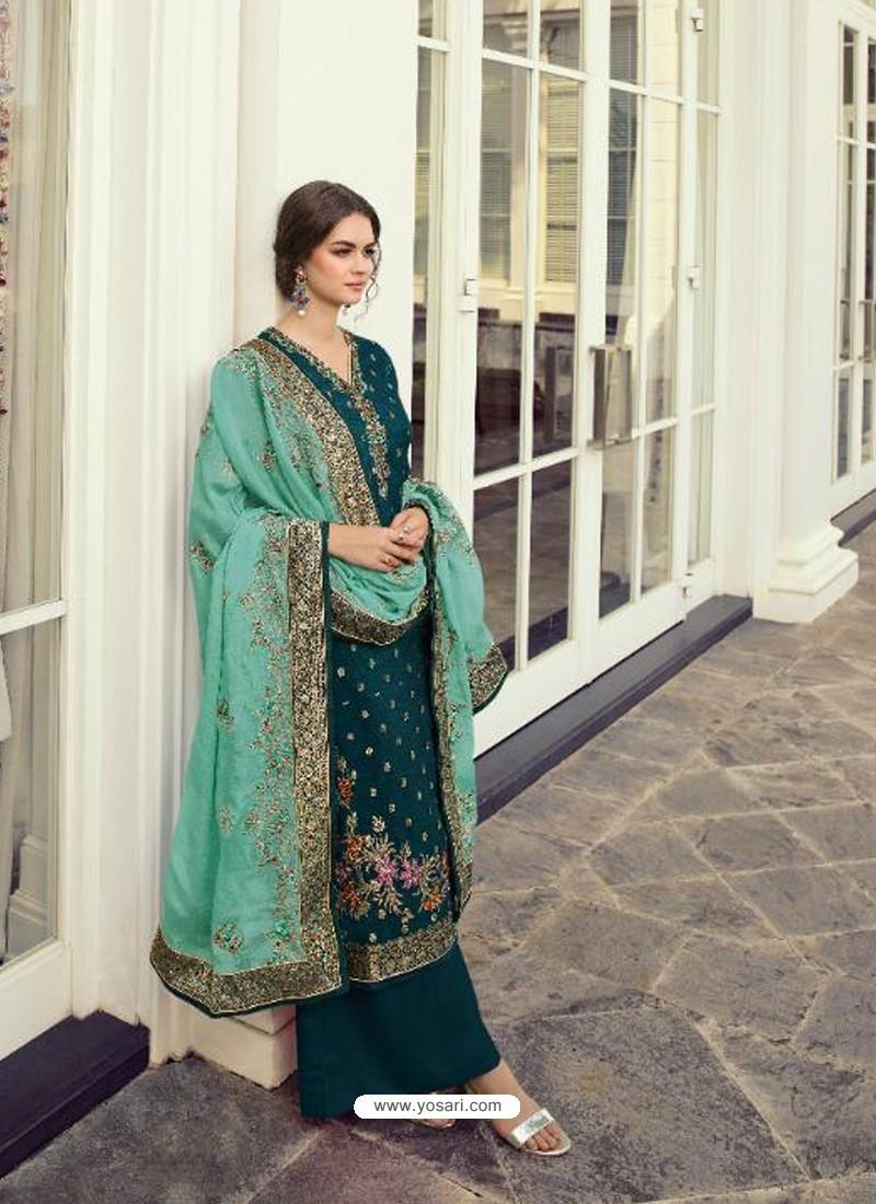 Teal Blue Designer Party Wear Viscos Dola Palazzo Salwar Suit
