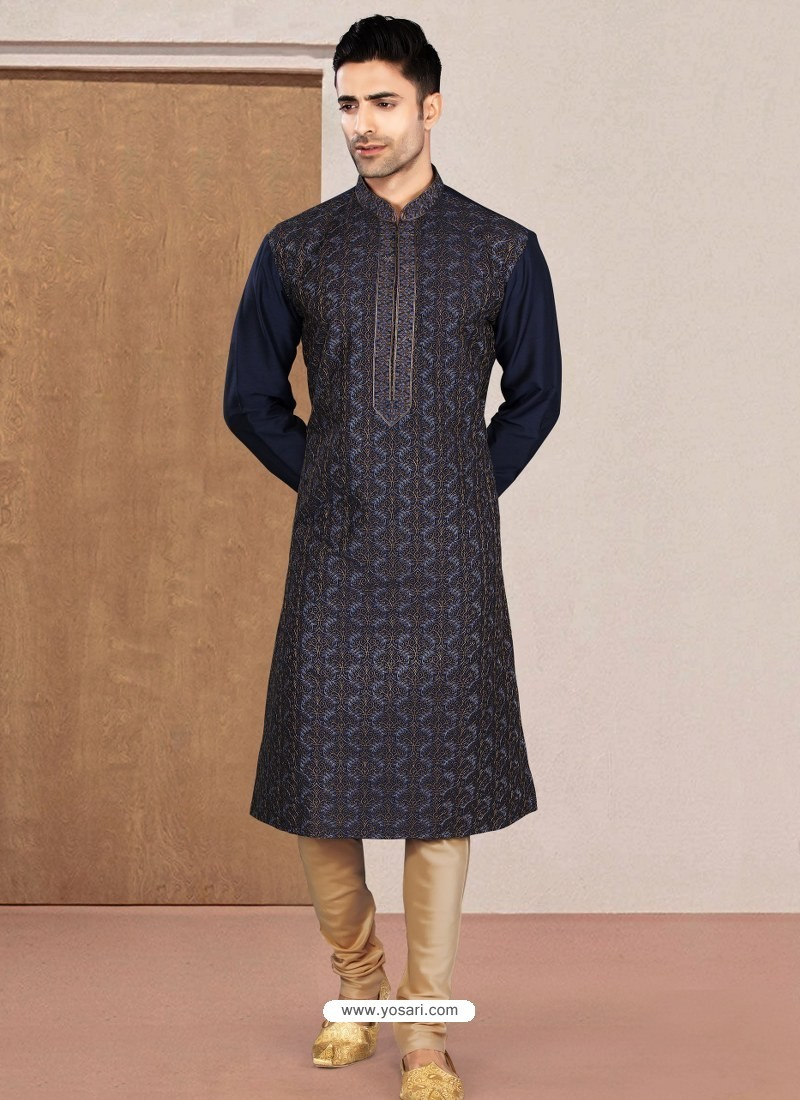 Navy Blue Designer Festive Wear Kurta Pajama For Men