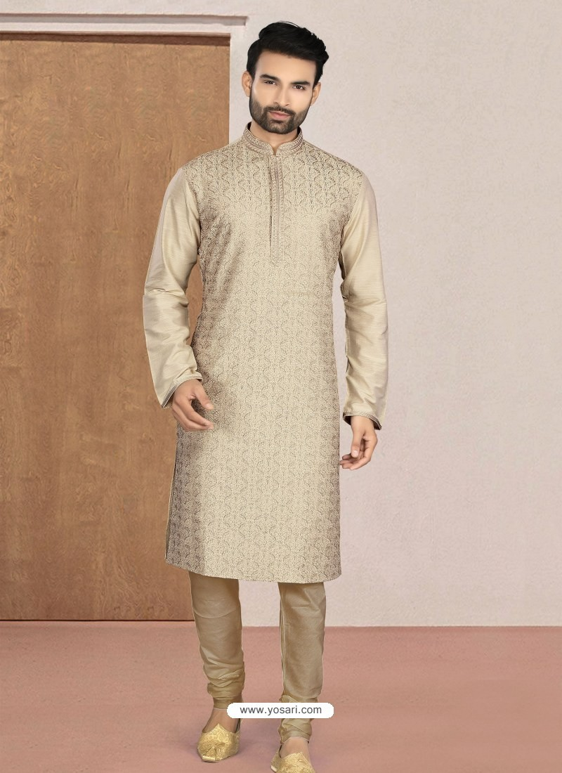 Gold Designer Festive Wear Kurta Pajama For Men