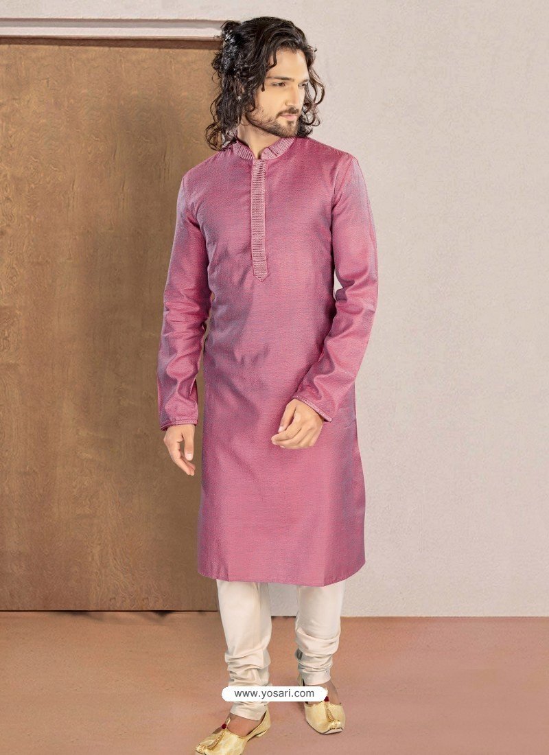 Magenta Designer Festive Wear Kurta Pajama For Men