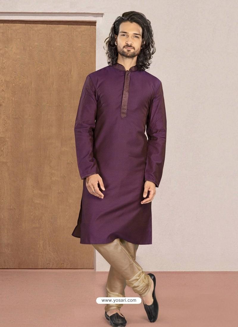 Purple Designer Festive Wear Kurta Pajama For Men