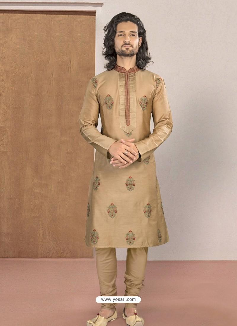 Beige Designer Festive Wear Kurta Pajama For Men