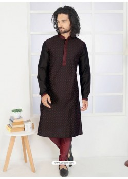 Black Designer Festive Wear Kurta Pajama For Men