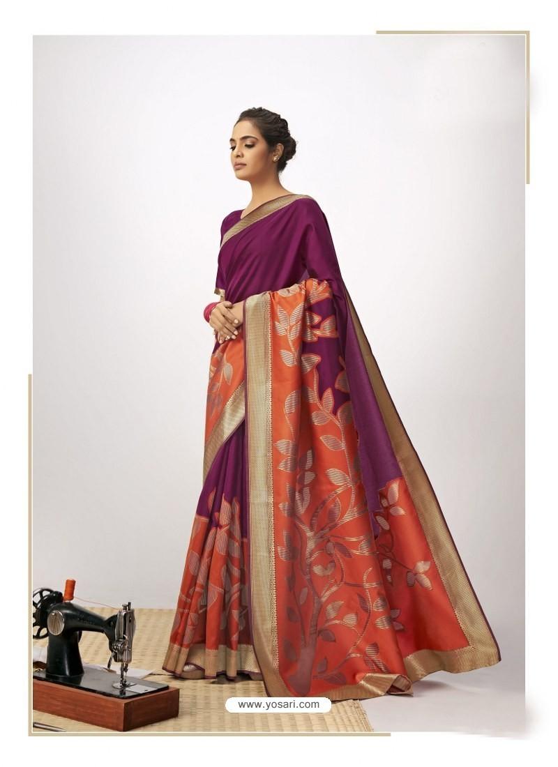 Purple Latest Designer Party Wear Cotton Silk Sari