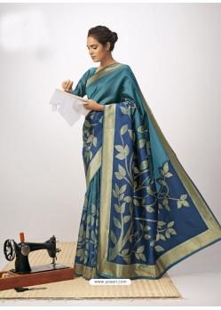 Blue Latest Designer Party Wear Cotton Silk Sari