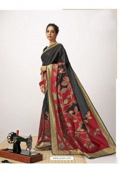 Black Latest Designer Party Wear Cotton Silk Sari