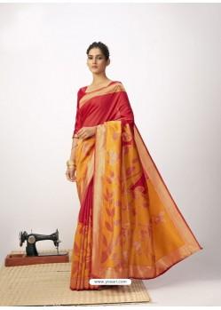 Red Latest Designer Party Wear Cotton Silk Sari