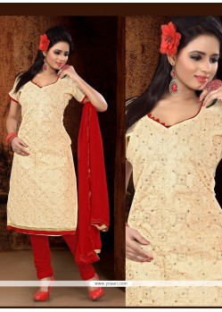 Phenomenal Lace Work Churidar Designer Suit