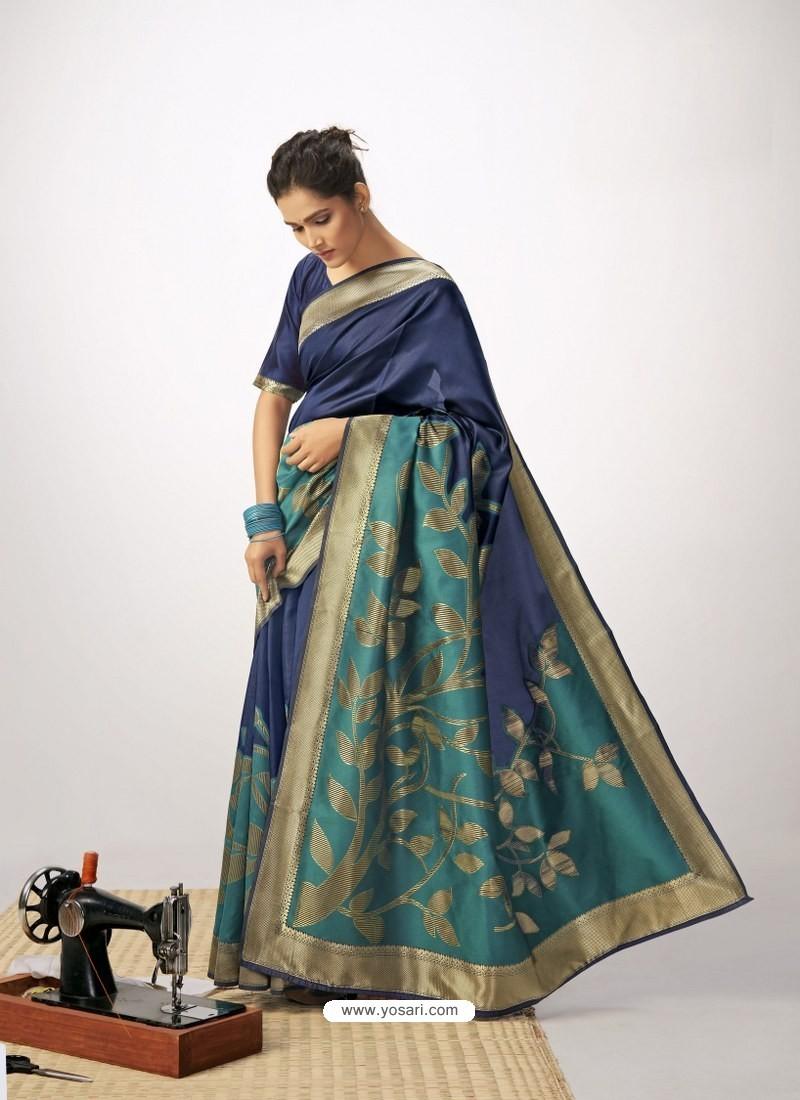 Dark Blue Latest Designer Party Wear Cotton Silk Sari