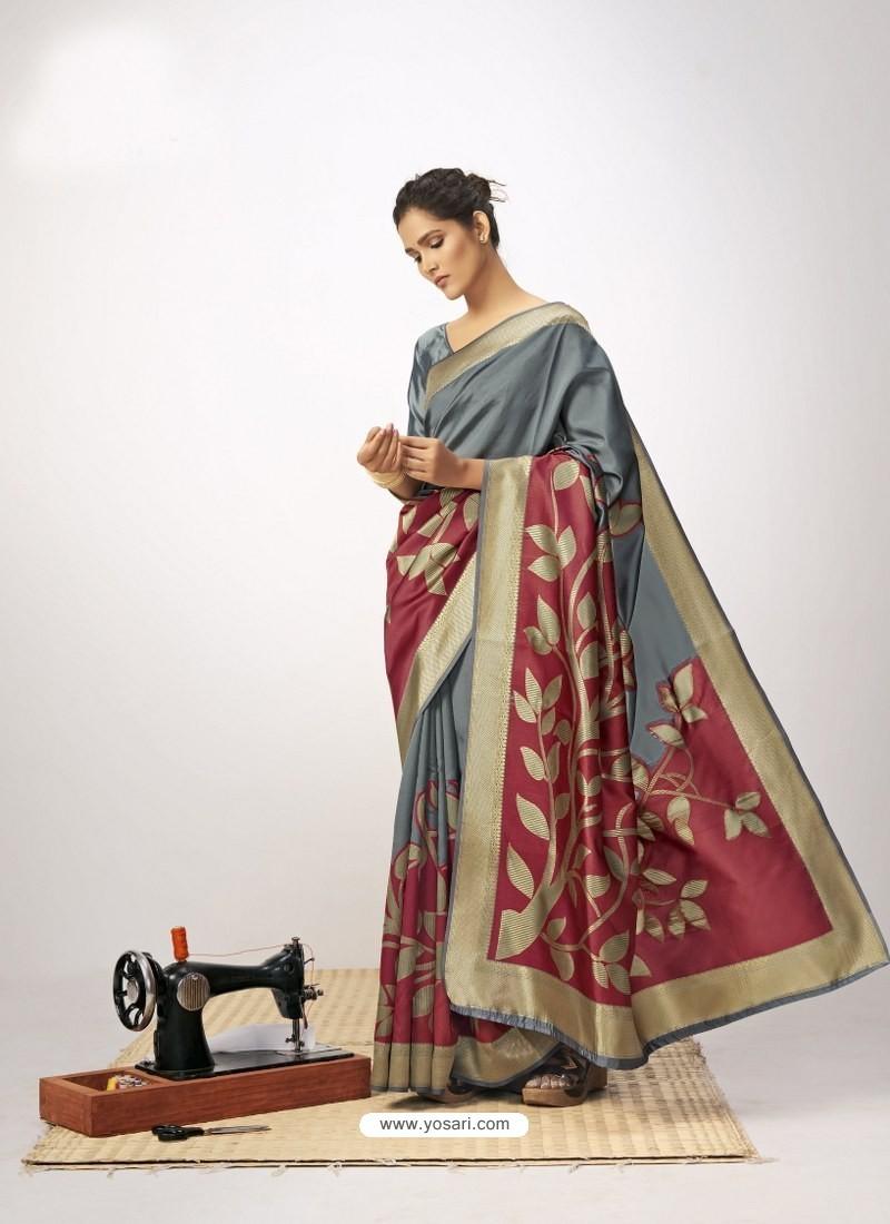 Grey Latest Designer Party Wear Cotton Silk Sari
