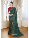 Dark Green Mesmeric Designer Classic Wear Satin Sari