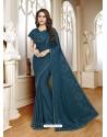 Teal Blue Mesmeric Designer Classic Wear Satin Sari