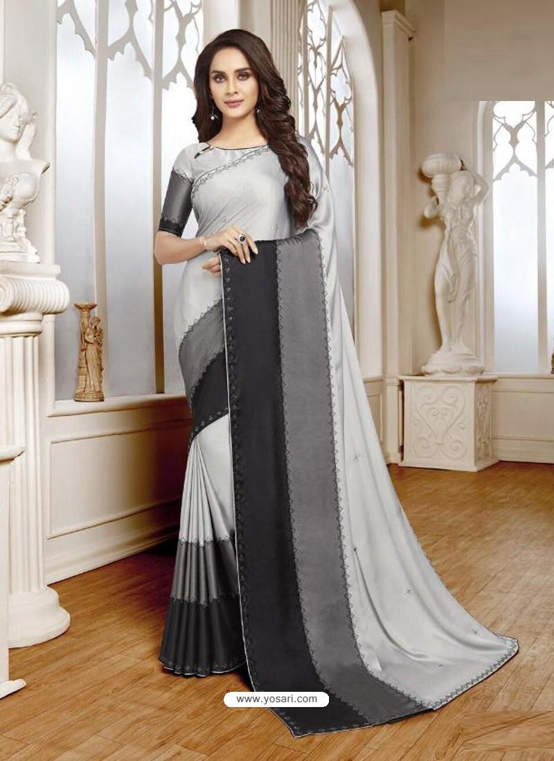 Light Grey Mesmeric Designer Classic Wear Satin Sari