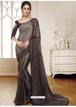 Light Brown Mesmeric Designer Classic Wear Satin Sari