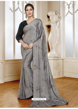 Silver Mesmeric Designer Classic Wear Satin Sari