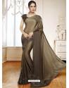 Camel Mesmeric Designer Classic Wear Satin Sari